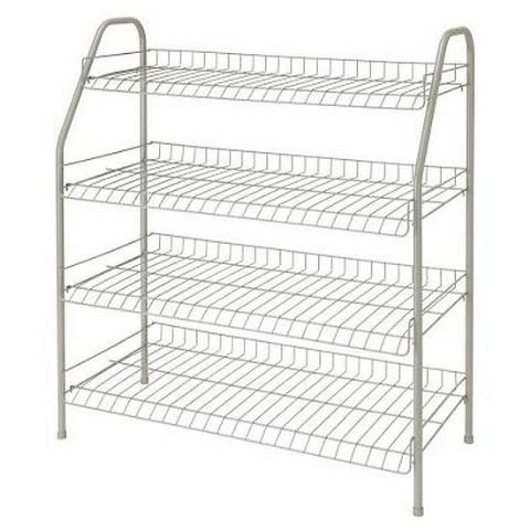 Large White Metal Wire Shoe Storage Organiser Rack H 65 x W 71cm